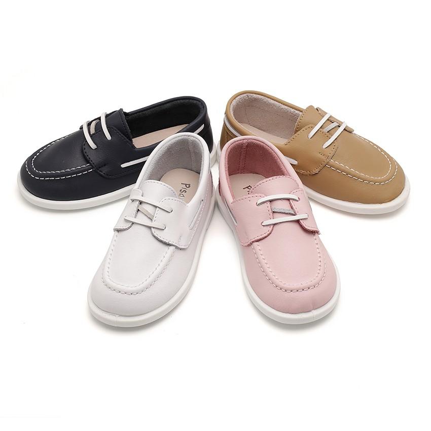 Boys Washable Leather Boat Shoes