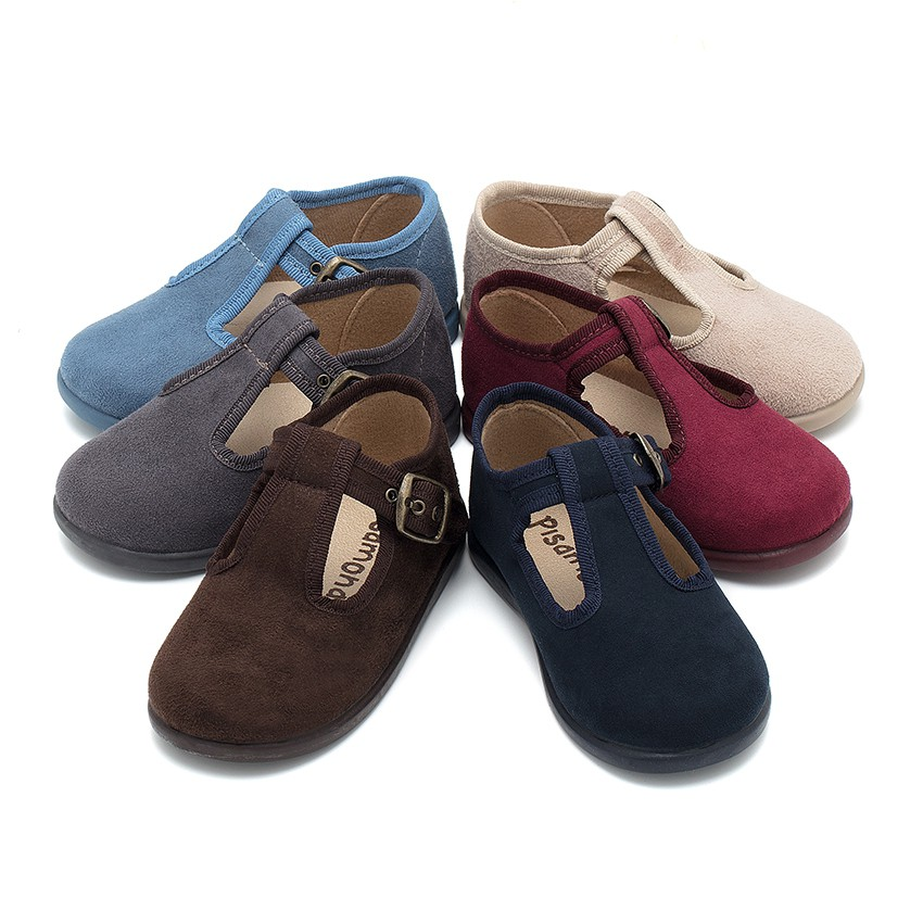 Boys Faux Suede T-Bar Shoes