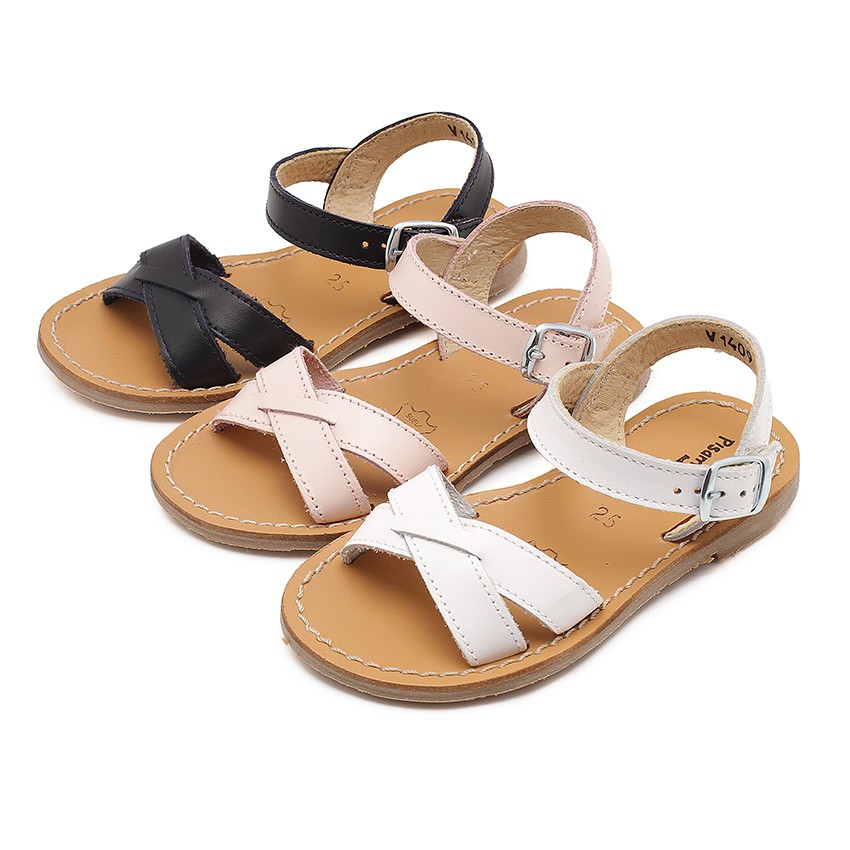 Plain Crossed Strap Flat Sandals
