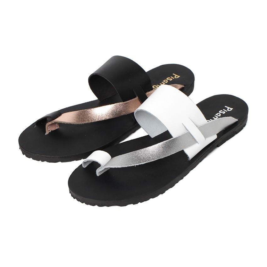 Metallic Leather Toe Post Sandal
