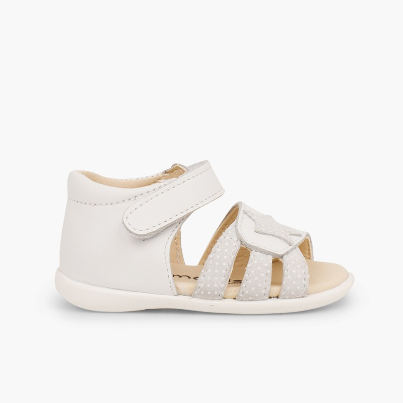 Leather sandals girls first step velcro and star