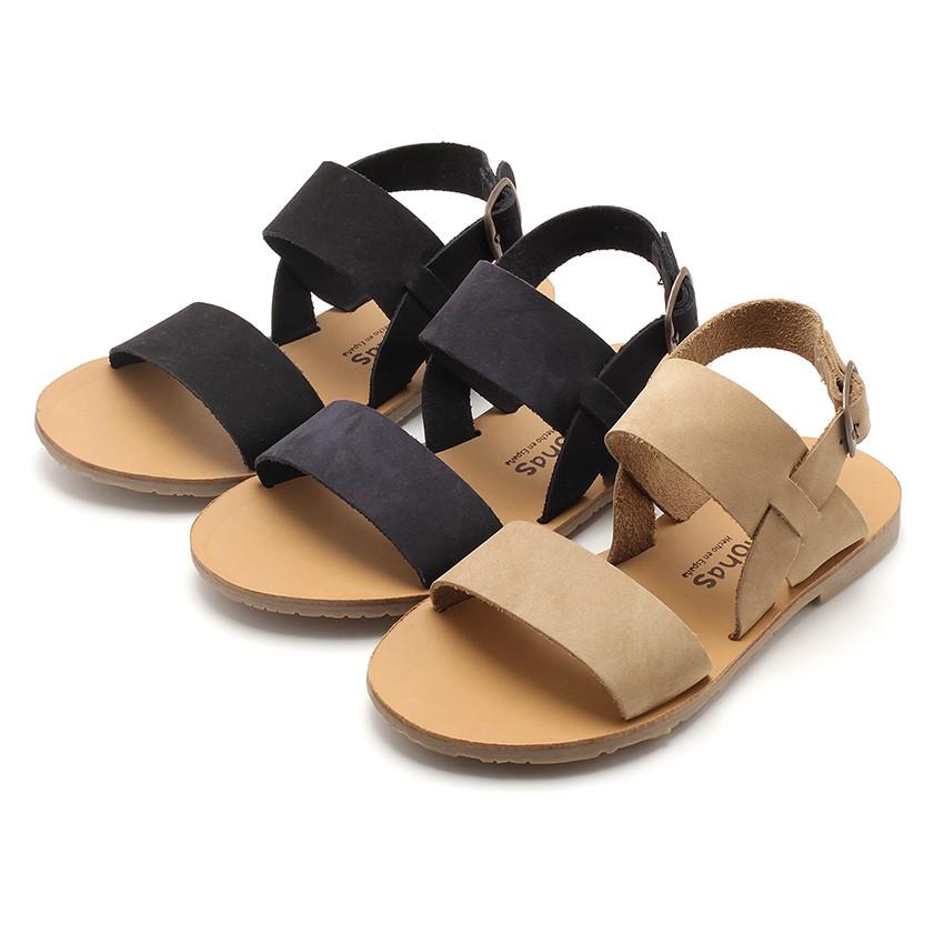 Wide Straps Nubuck Sandals