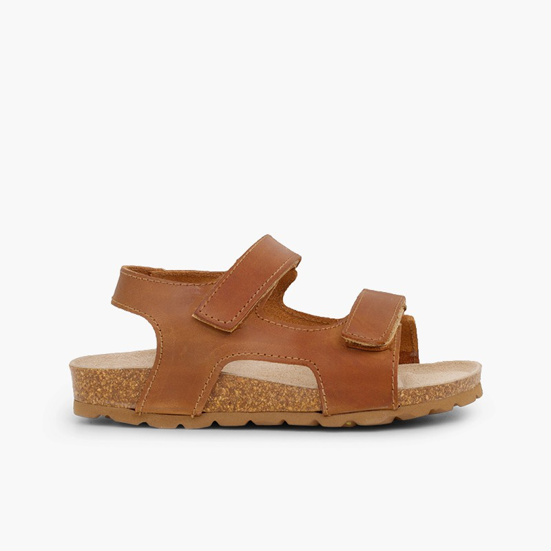 Eco leather sandals twin velcro