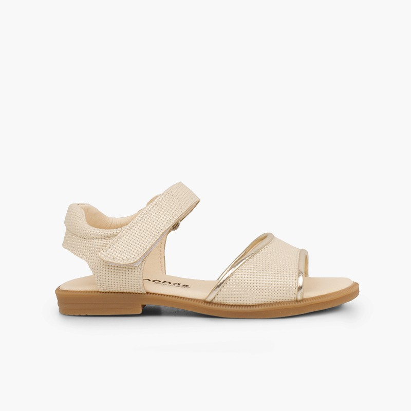 Shiny leather sandals girls velcro