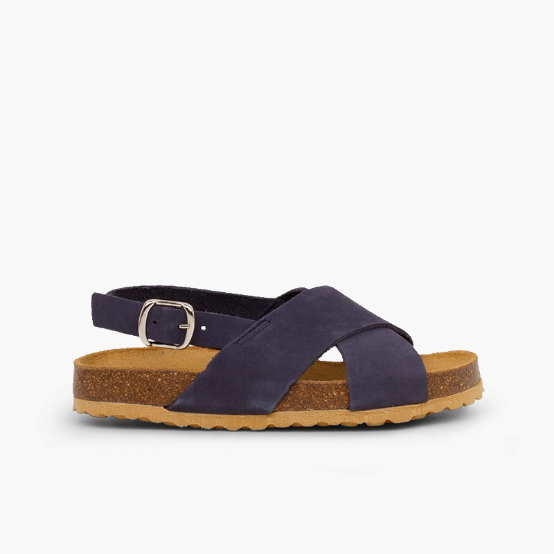 Cross strap sandals in nubuck for kids