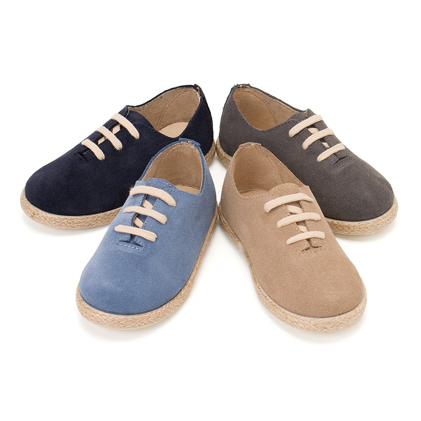 Kids Lace-Up Suede and Jute Trainers
