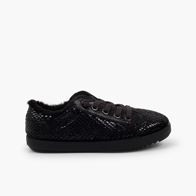 Snake Animal Print Trainers with Fur Lining