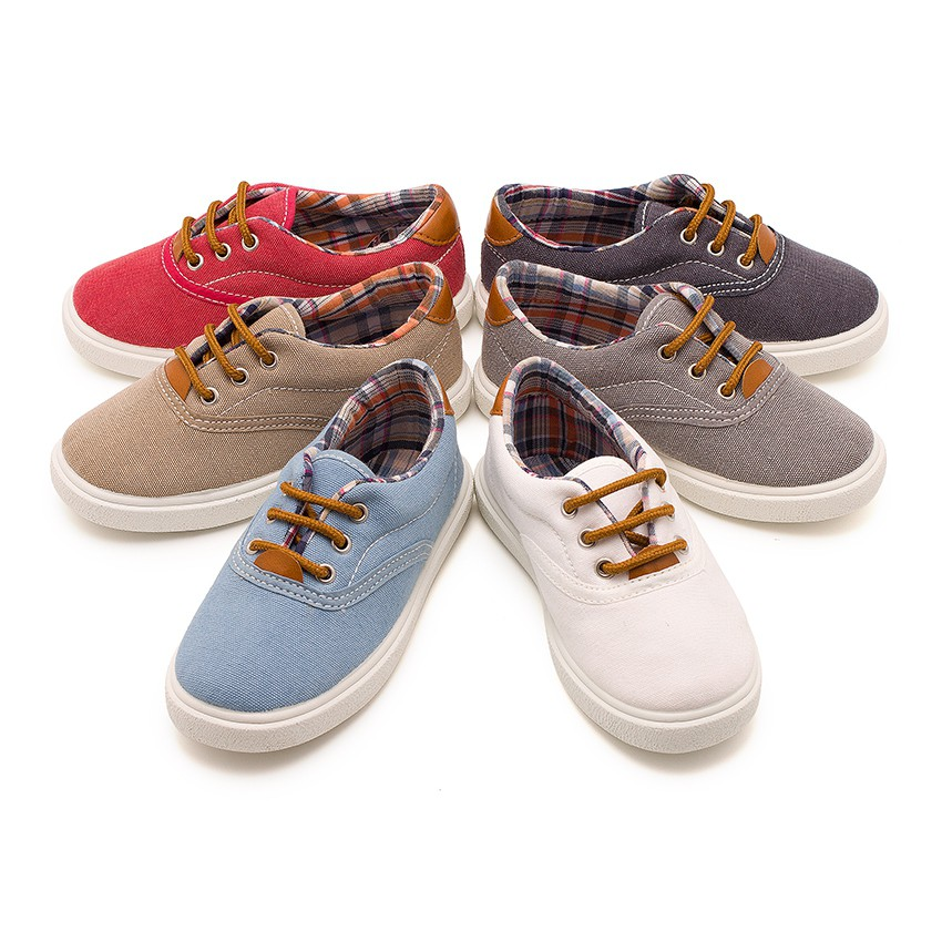 Contrast Lace-Up Canvas Sneakers