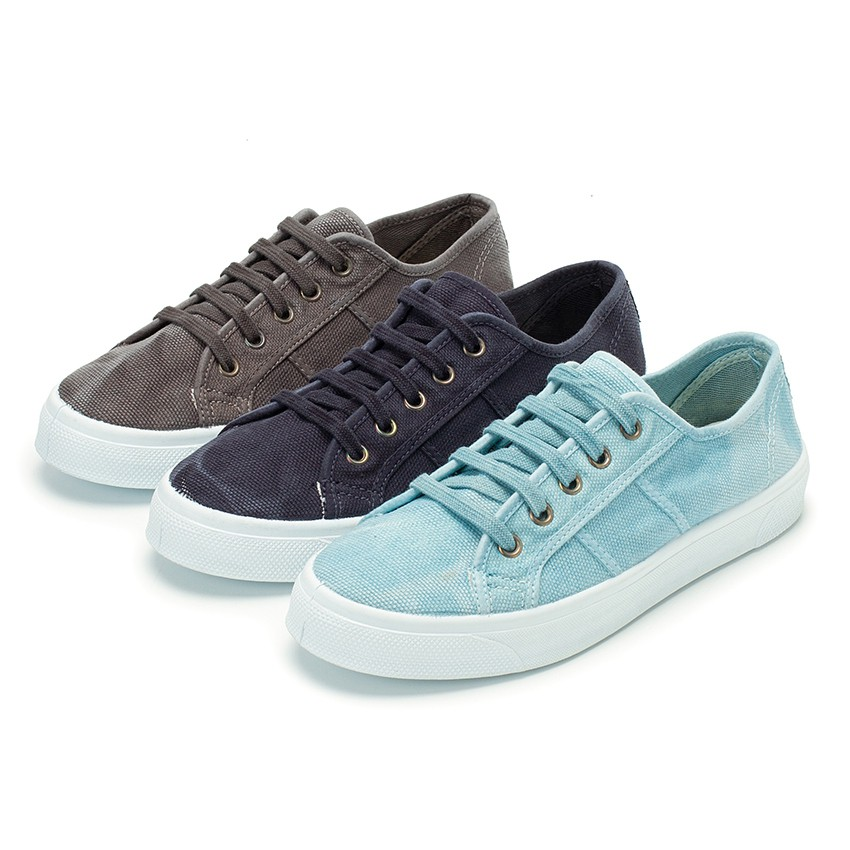 Distressed Lace-up Canvas Trainers