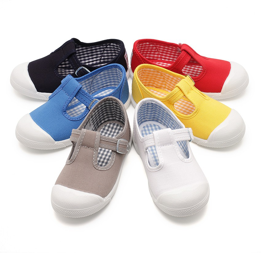 Boys T-Bar Canvas Shoes Rubber Toe