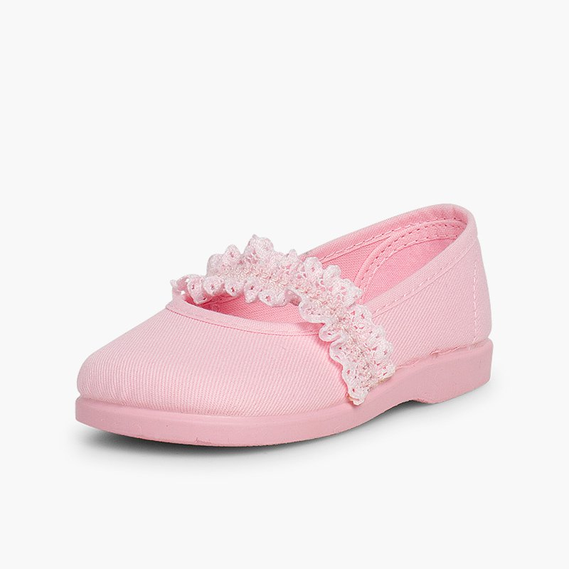 Girls' Mary Janes with Elasticated Lace Strap