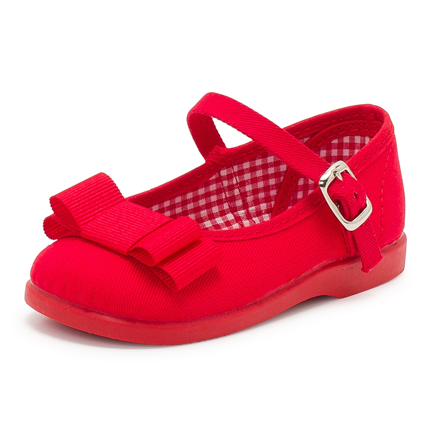 Canvas Mary Janes Cobbler Bow