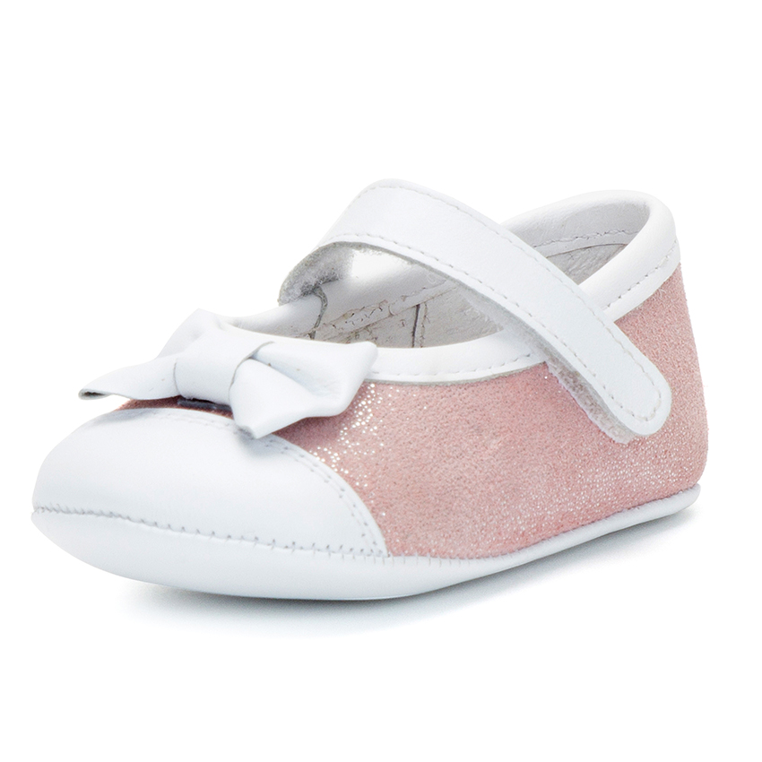 Shiny Baby Mary Janes in Nappa and Leather with Velcro
