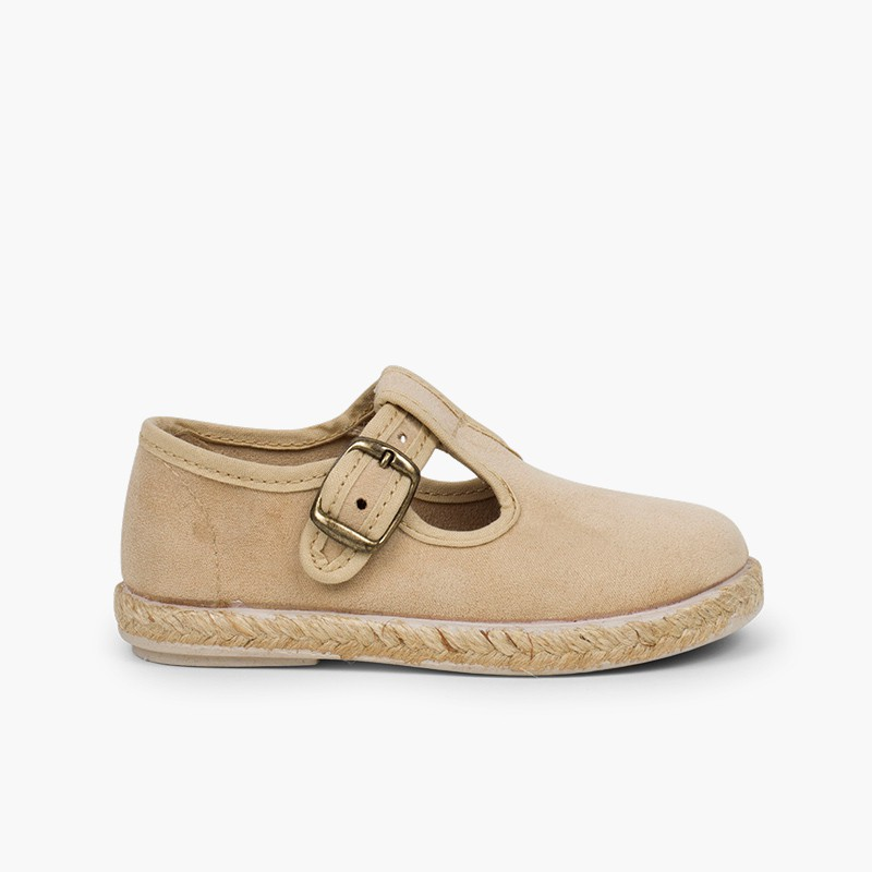 Bamara and Jute T-bar Shoes with Buckle