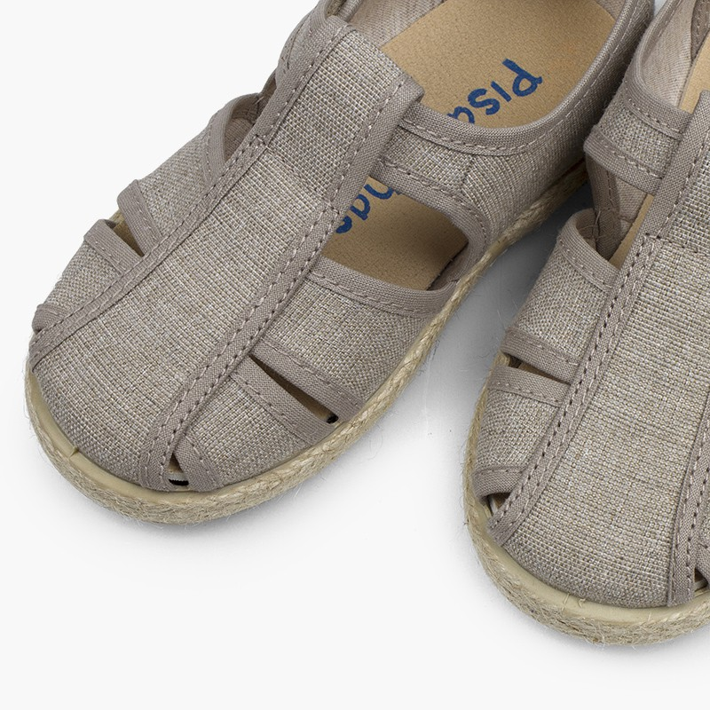 Canvas and Jute T-bar Sandals with Openings