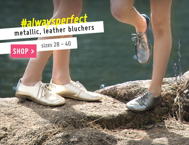 Metallic Leather Girls' Bluchers Collection Spring Summer 2017