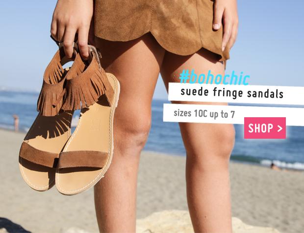 Girls Suede Fringe Sandals Collection Spring Summer 2017