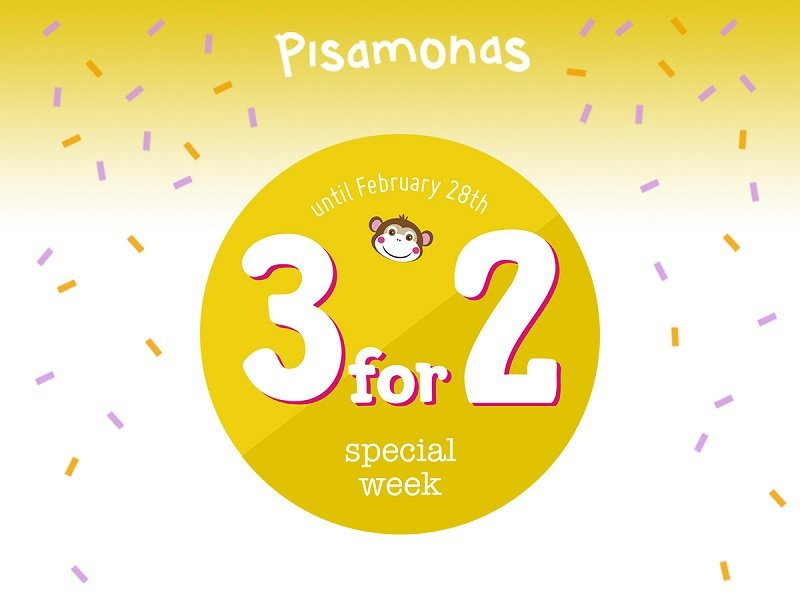 3 for 2 offer at Pisamonas